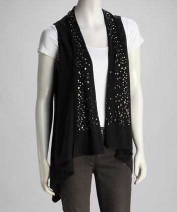 Black Stud Open Vest