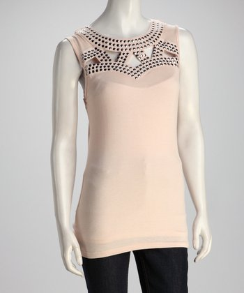 Nude Studded Top