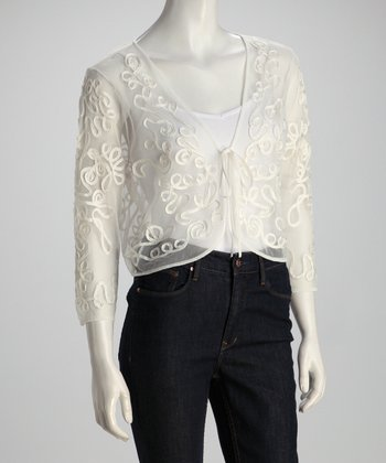 Ivory Lace Sheer Cardigan