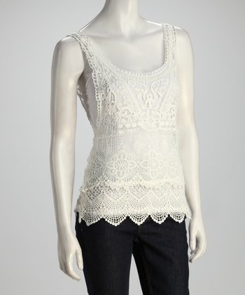Cream Crocheted Top