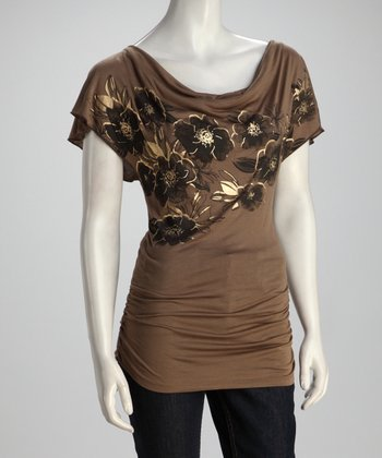 Khaki Ruched Floral Top