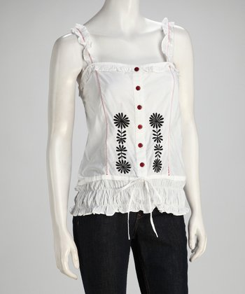 White & Black Flower Smocked Tank