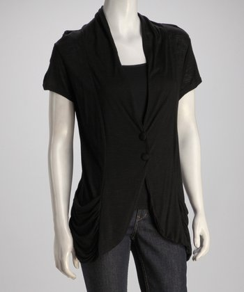 Black Ruched Cardigan