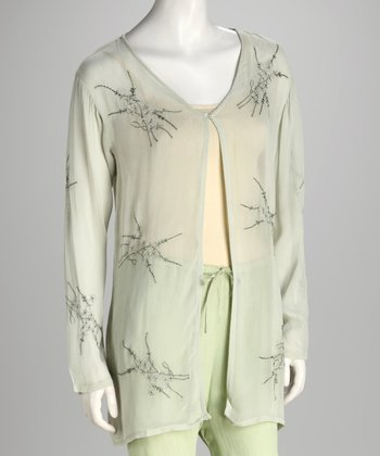 Green Floral Embroidered Sheer Cardigan