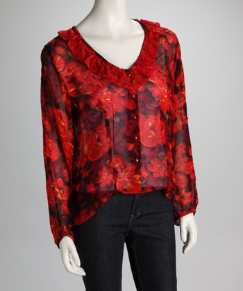 Red Floral Cropped Button-Up