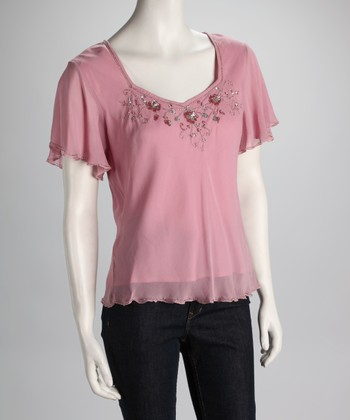 Pink Sheer Angel-Sleeve Top