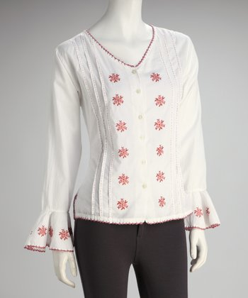 White & Red Peasant Button-Up