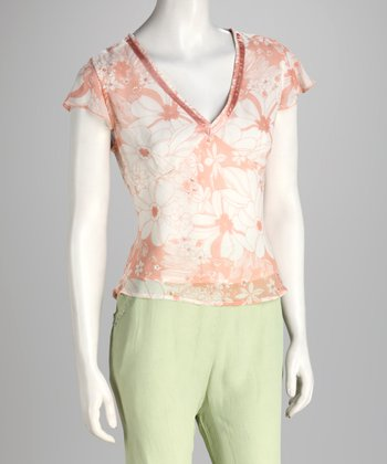 Peach Floral Sheer V-Neck Top