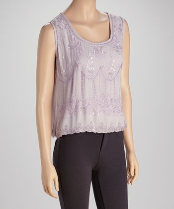 Lavender Embroidered Sequin Top