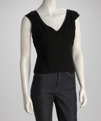 Black Cap-Sleeve Top