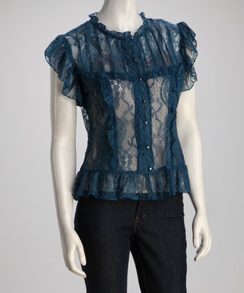 Blue Sheer Lace Button-Up Top