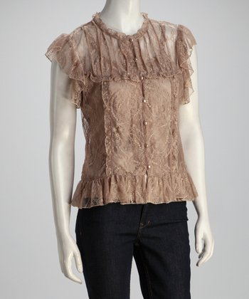 Tan Sheer Lace Top