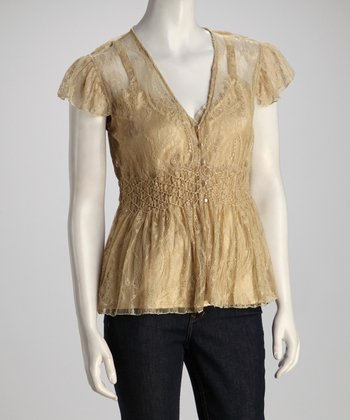 Gold Frill Lace Top