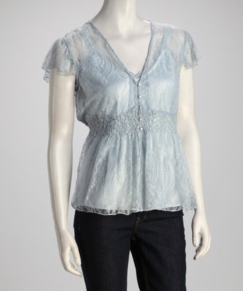 Light Blue Frill Lace Top
