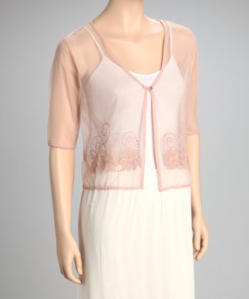 Pink Embroidered Sheer Cardigan