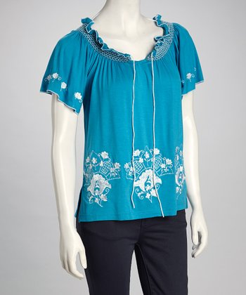 Blue Peasant Top