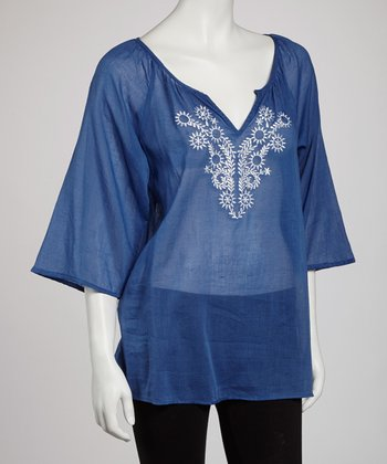 Blue Sheer Embroidered Top