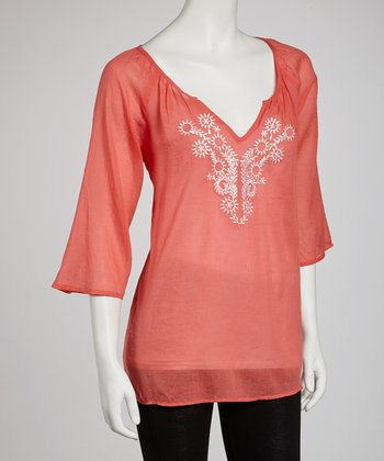 Coral Sheer Embroidered Top