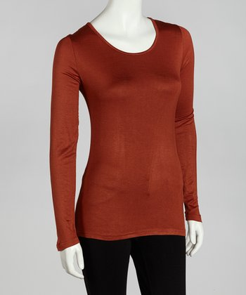 Rust Long-Sleeve Scoop Neck Top