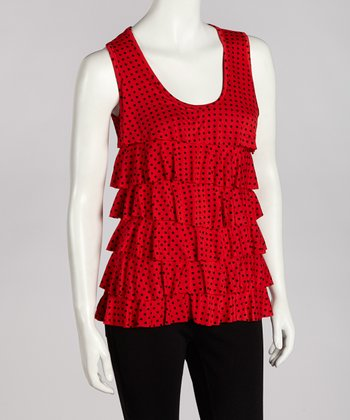 Red Polka Dot Ruffle Tank