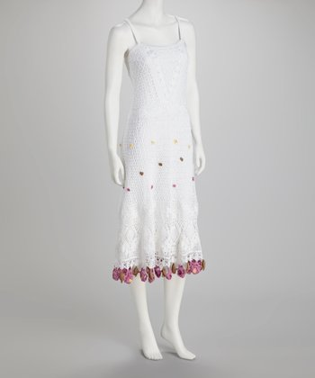 White & Pink Crocheted Dress