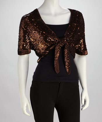 Brown Sequin Shrug