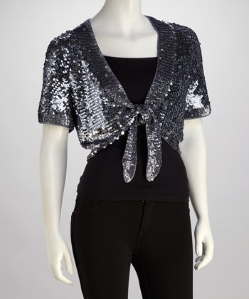 Gray Sequin Shrug
