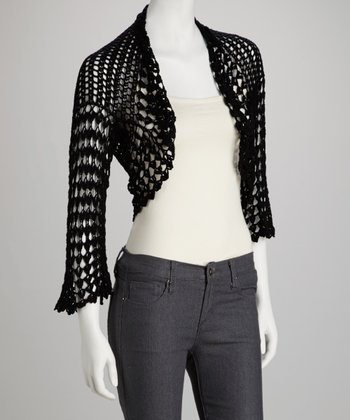 Black Crocheted Bolero