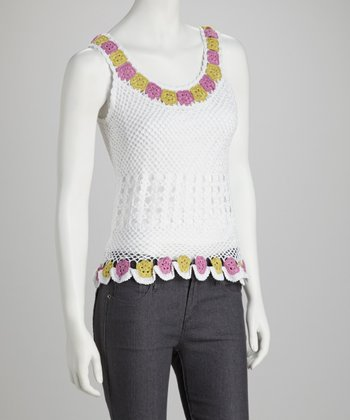 White Floral Crocheted Tank
