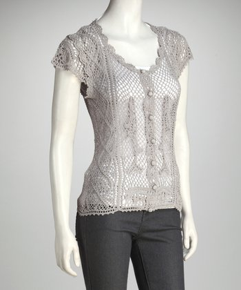 Light Gray Crocheted Top