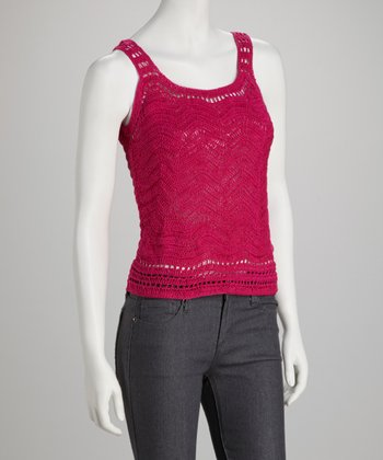 Fuchsia Crocheted Wave Tank