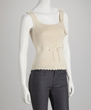 Beige Laced-Ribbon Tank