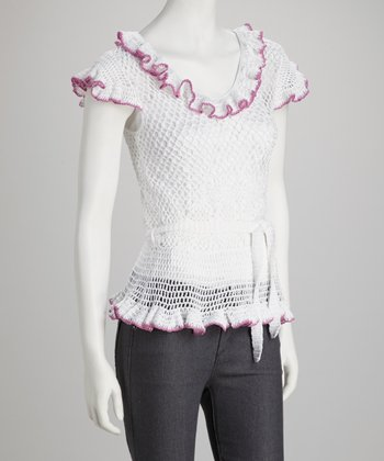White & Pink Ruffle Crocheted Top