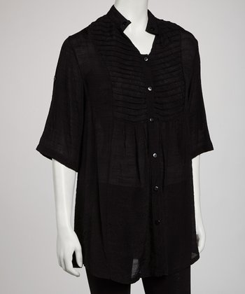 Black Pleated Button-Up