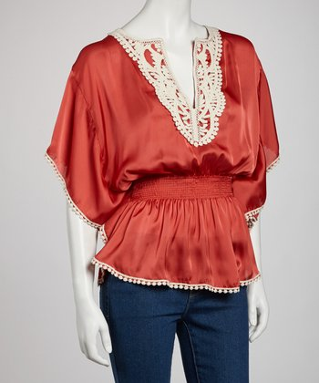 Coral Embroidered Cape-Sleeve Top