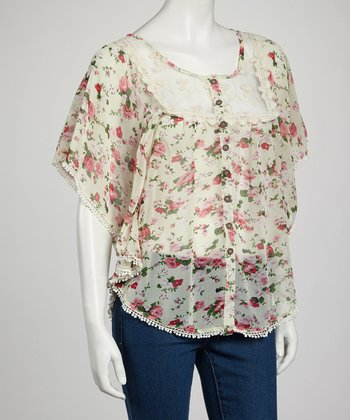 White Floral Cape-Sleeve Button-Up