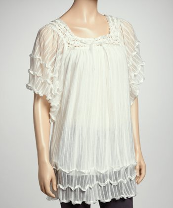 Cream Ruffle Top