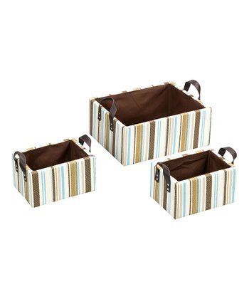 Pearl Stripe Fashion Basket - Set of Three