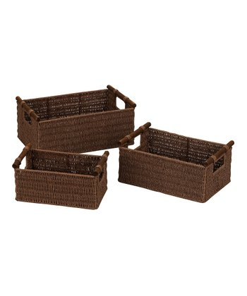Brown Wood Handle Basket Set