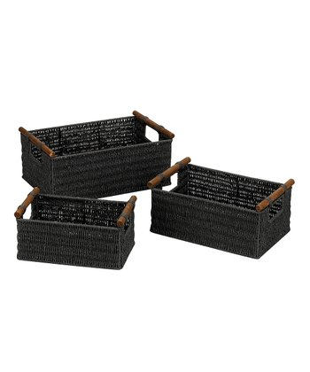 Black Wood Handle Basket Set