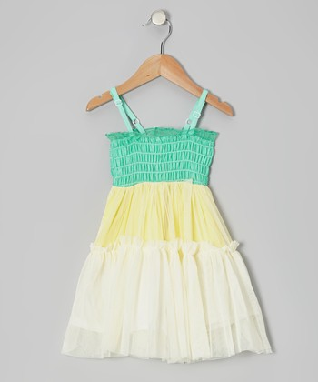 Green & Yellow Tiered Smocked Dress - Toddler & Girls