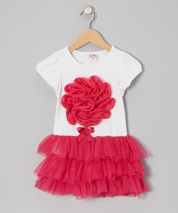 White & Hot Pink Flower Tulle Dress - Toddler & Girls