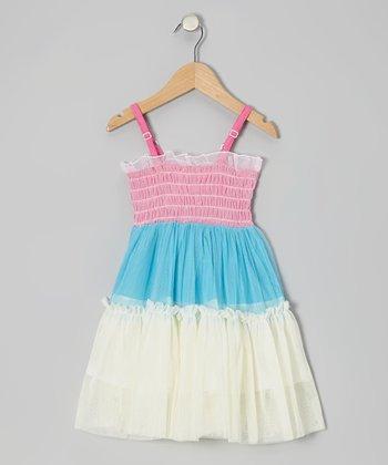 Pink & Blue Tiered Smocked Dress - Toddler & Girls