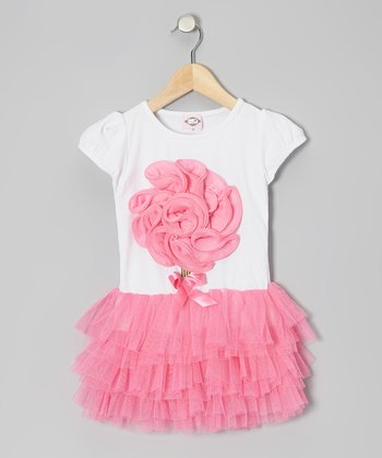White & Pink Flower Tulle Dress - Toddler & Girls