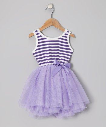 Purple Stripe Tulle Dress - Toddler & Girls