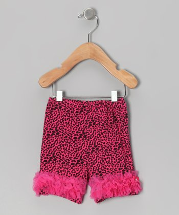 Hot Pink Leopard Ruffle Shorts - Infant