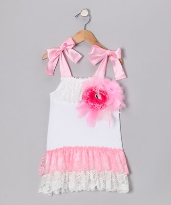 Pink & White Lace Drop-Waist Dress - Toddler