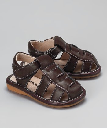 Brown Squeaker Closed-Toe Sandal