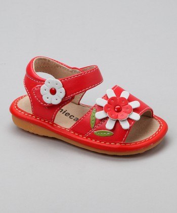 Laniecakes Red Daisy Squeaker Sandal