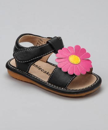 Black & Hot Pink Flower Squeaker Sandal
